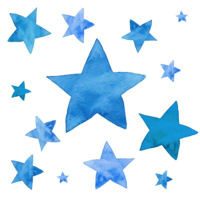 Nálepka Akvarel ilustrace modré hvězdy set