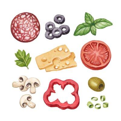 Nálepka Akvarel ilustrace složek potravin