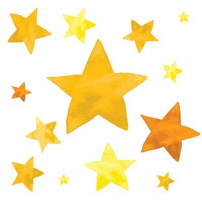 Nálepka Akvarel ilustrace žluté hvězdy nastavit