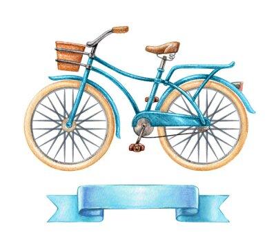 Nálepka Akvarel ilustrační, modré kolo, retro kolo, prázdný stuha tag, poutač, štítek, doprava klipart izolovaných na bílém pozadí