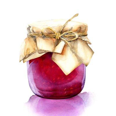 Nálepka akvarel jar s červené bobule jam