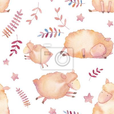 Akvarel jehňata bezproblémové vzor. Ručně kreslenými kreslené tapety design s mladými ovcí, hvězdy a okrasných rostlin na bílém pozadí. Roztomilý opakování textury v dětském stylu