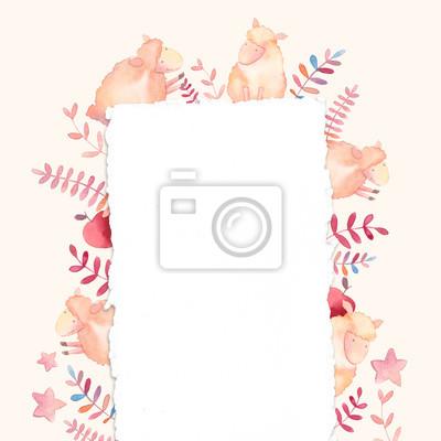 Akvarel jehňata design karty. Ručně malovaná kreslený snímek s mladými jehňat, hvězdy, jablko a okrasných rostlin na pastelové pozadí. Roztomilý dekorativní hranice v dětském stylu