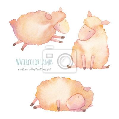 Akvarel jehňata. Ručně malovaná kreslený mladí ovce sada na bílém pozadí. Roztomilé ilustrace zvířat pro design dítě stylu