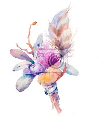 Akvarel knoflíková dírka květina s listy, bobulové a peří. Ručně tažené květinový prvek na bílém pozadí. Svatební dekorativní předmět
