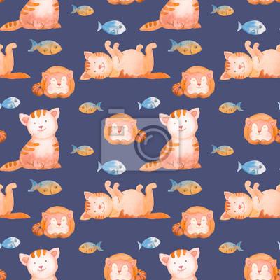 Akvarel kočky bezproblémovou vzor. Ručně malovaná kreslený textura s mladou kočku a ryb na tmavém pozadí. Roztomilé tapety s domácími zvířaty pro design dítě styl
