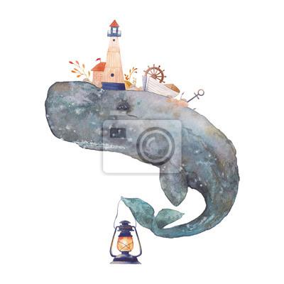Akvarel kreativní cachalot plakát. Ručně malované fantasy mořská velryba s majákem, lucerna, kotvou, rostliny, kolo, staré lodi, kameny na bílém pozadí. Vintage styl art námořních