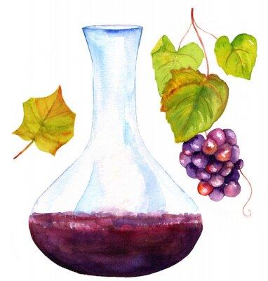 Nálepka Akvarel kresby vín karafy, listů vinné révy a hrozny
