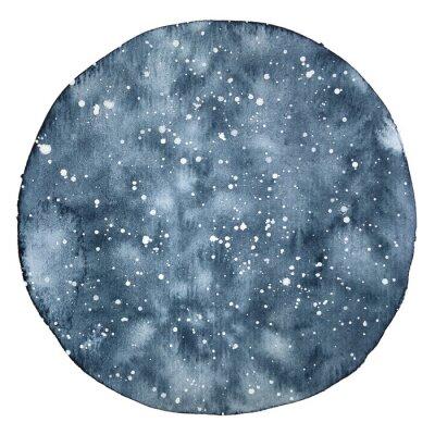 Nálepka Akvarel kruh pozadí noční oblohy