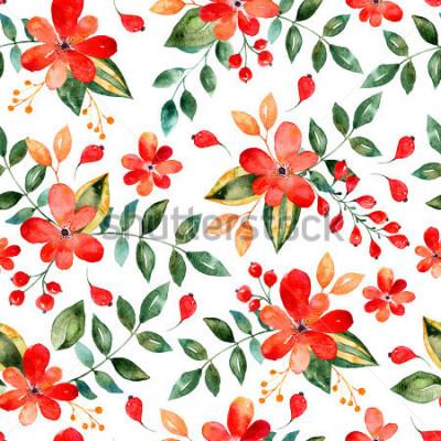 Nálepka Akvarel květinové bezešvé vzorek s červenými květy a leafs.Colorful květinové ilustrace.Autumn nebo letní ruční design pro pozvání, svatba nebo blahopřání, lze použít pro tapety