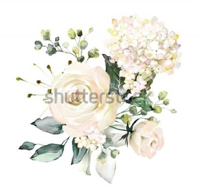 Nálepka akvarel květiny. květinové ilustrace, list a pupeny. Botanická kompozice pro svatební nebo přání. větev květin - abstrakce růže, hortenzie