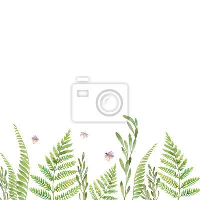 Akvarel lesní rostliny a světlušky rám. Ručně malované zeleň hranice na bílém pozadí. Květinový vzor silueta karta