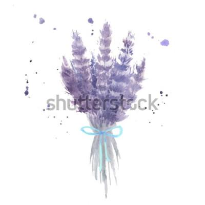 Nálepka Akvarel levandule kytice. Načrtněte levandulové květy s modrou stužkou a akvarel šplouchání. Izolované vektorové ilustrace