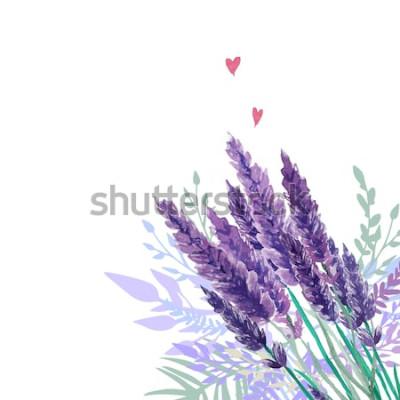 Nálepka Akvarel levandule kytice pozadí. Rám s ručně malované vinobraní rostliny, květinové výzdoby a srdce. Vektorové ilustrace.