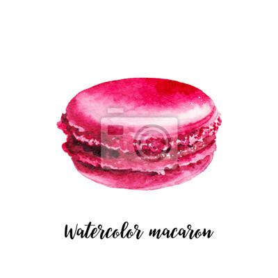 Akvarel macaron. Ručně malované objekt jídlo na bílém pozadí. dezert ilustrační