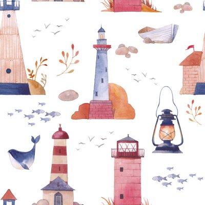Akvarel maják bezešvé vzor. Ručně kreslenou moře textury s kreslených objektů: člunu, racek, velryby, ryby, lampa, kamenů a rostlin. Námořní tapeta