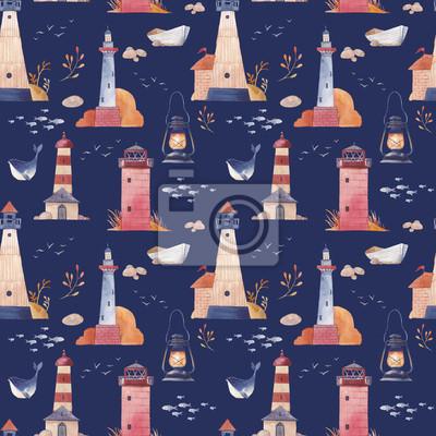 Akvarel maják bezešvé vzor. Ručně kreslenou moře textury s kreslených objektů: člunu, racek, velryby, ryby, lampa, kamenů a rostlin. Námořní tapeta s tmavě modrém pozadí