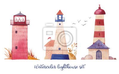 Akvarel maják set. Ručně malovaná karikatura majáky s roztomilými detaily: rostlin, ochabne, racka. Izolovaná konstrukce objektů na bílém pozadí. Námořní umělecká díla