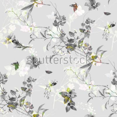 Nálepka Akvarel malba listů a květin, bezešvé vzor na zvýhodněné pozadí