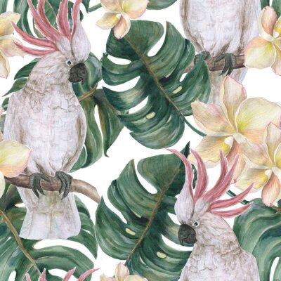 Nálepka Akvarel maluje bezešvé vzorek s listy tropických deliiosa, plumeria květiny a kakadu
