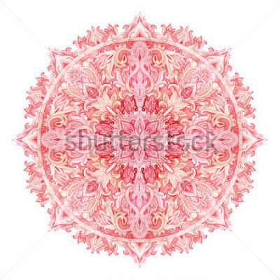 Nálepka Akvarel mandaly. Ručně tažené vzor ve východním stylu. Okrasné krajky vzor pro design v tribal a boho stylů. Tradiční krajky izolovaných na bílém pozadí.