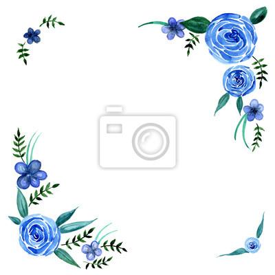 Akvarel modré květy s listy věnec rám vektor