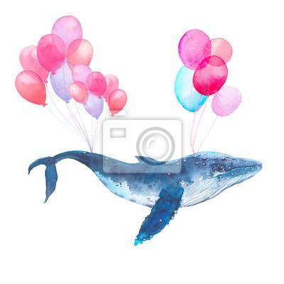 Akvarel modré velryby létání na balónech. Pohádkový ručně malované mořský živočich na bílém pozadí. Umělecké tištěné