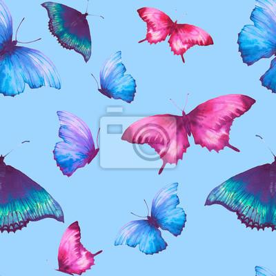 Akvarel motýl bezešvé vzor. Ručně malovaná léto textura s různými vícebarevného motýly na modrém pozadí. Opakování tapety design