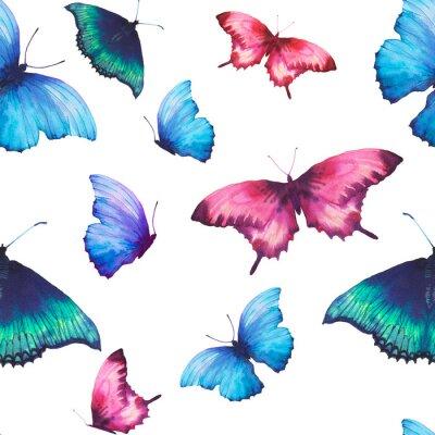 Akvarel motýl bezešvé vzor. Ručně malovaná léto textura s různými vícebarevný motýli na bílém pozadí. Opakování tapety design