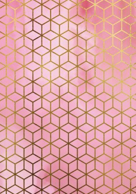 Nálepka Akvarel mramorové pozadí s geometrickým krychlovým vzorem.