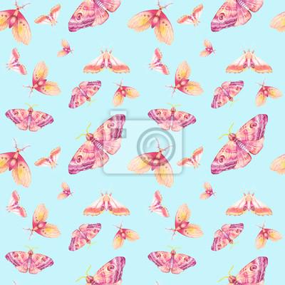 Akvarel na jaře bezproblémové vzor. Ručně malovaná léto textura s různými vícebarevného motýly na modrém pozadí. Opakování tapety design