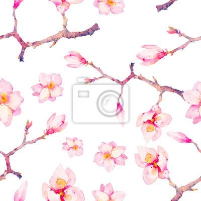 Akvarel na jaře bezproblémové vzor. Ručně malované textury s magnólie kvetou větve na bílém pozadí. Květy tapety design