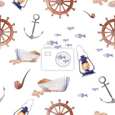 Akvarel námořní bezproblémové vzorek. Ručně malovaná kreslený textura s výhledem na moře prvků: staré lodi, kotvící, ryby, kouření dýmky, lucerna, kola. Tapety design na bílém pozadí.