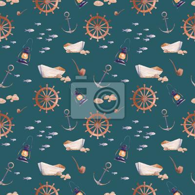 Akvarel námořní bezproblémové vzorek. Ručně malovaná kreslený textura s výhledem na moře prvků: staré lodi, kotvící, ryby, kouření dýmky, lucerna, kola. Tapety design na smaragdově zeleném pozadí.
