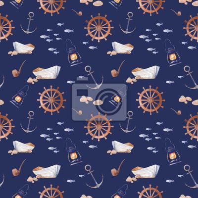 Akvarel námořní bezproblémové vzorek. Ručně malovaná kreslený textura s výhledem na moře prvků: staré lodi, kotvící, ryby, kouření dýmky, lucerna, kola. Tapety design na tmavě modrém pozadí.