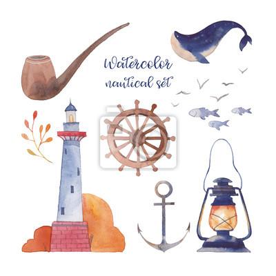 Akvarel námořních set. Ručně malovaná kreslený film prvky: maják, ryby, velryby, racka, lucerna, pobřeží závod, dýmkové, kotva, volant. Izolované objekty na bílém pozadí