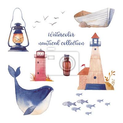 Akvarel námořních set. Ručně malovaná kreslený film prvky: námořní loď, maják, láhev, ryby, velryby, racka, lucerna. Izolovaná konstrukce objektů na bílém pozadí. Námořní sbírka