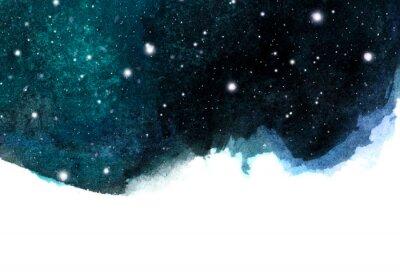 Nálepka Akvarel noční obloha na pozadí s hvězdami. kosmické uspořádání s prostorem pro text.