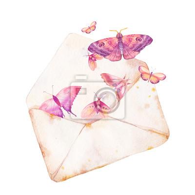 Akvarel obálka a motýl ilustrace. Ručně malovaná ročník kresby s izolovanou papírové obálky a různé létání motýlů. Romantický rastr umění