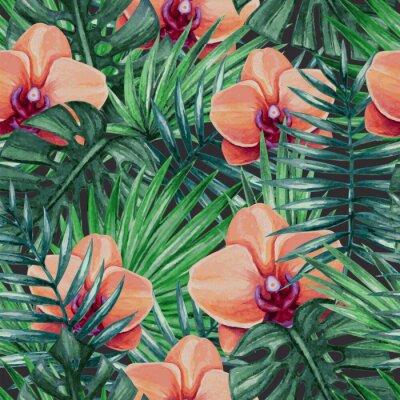 Nálepka Akvarel orchidejí květ a palmového listí bezproblémové vzor. Vektorové ilustrace.