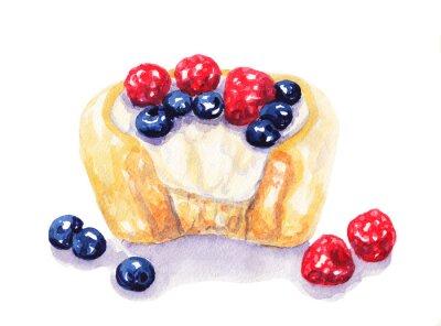 Nálepka Akvarel ovocný koláč koláč s ovocem na bílém pozadí