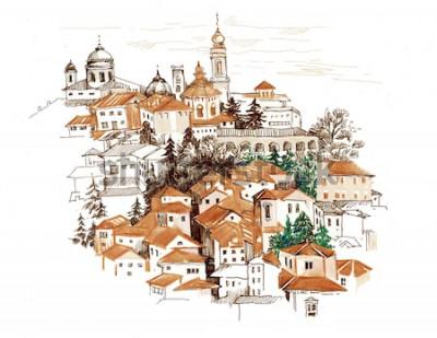 Nálepka Akvarel panoráma s domy ilustrace.