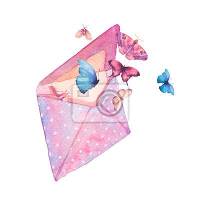 Akvarel polka dot obálka a motýl ilustrace. Ručně malovaná ročník kresby s izolovanou papírové obálky a různé létání motýlů. Jarní rastr umění