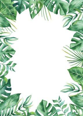 Nálepka Akvarel rám s tropickými listy a květy, akvarel skvrny. Zlatý, kulatý, polygonální vzor pro karty, pozvánky, svatební a letní vzory.