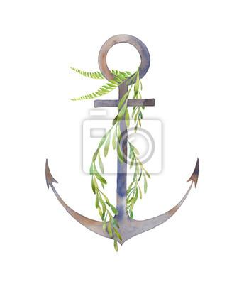 Akvarel rezavé kotvy se zelení. Ručně kreslenými moře symbol a rostlin na bílém pozadí. Vintage ilustrační