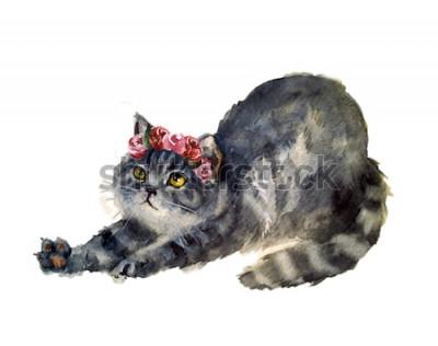 Nálepka Akvarel roztomilá kočka s květinami