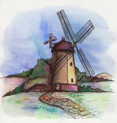 Nálepka akvarel ručně malovaná větrný mlýn v Holandsku