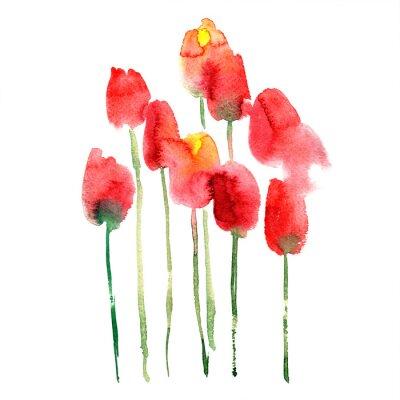 Nálepka Akvarel ručně malované červené a žluté tulipány