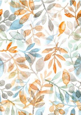 Nálepka akvarel ručně malované listy a větve. bezešvé vzor na bílém pozadí