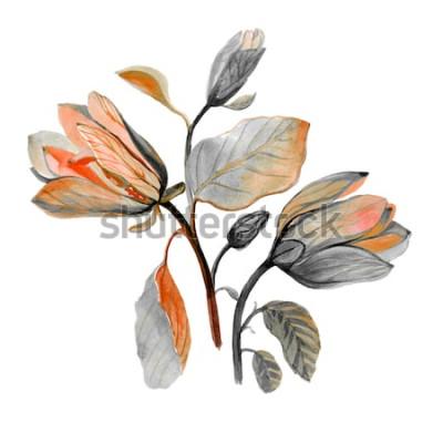 Nálepka Akvarel ručně tažené krásné magnólie květ. Složení podzimní zelené květy. Podzimní kytice.